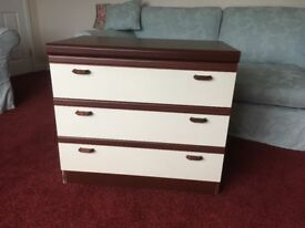 3 drawer chest of drawers and 2 matching bedside tables and 1 matching storage box