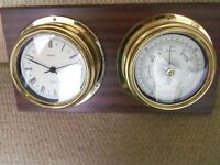 Metamec clock and barometer vintage brass ships bulkhead style display on dark wooden plinth