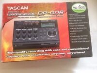 Tascam DP-006 – 6-Track Digital Pocketstudio with 4GB SD card. Condition: used once.