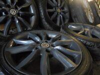 "17"" gunmetal spider alloys wheels vw mk6 7 jetta transporter camper golf seat passat audi leon t4 t3"