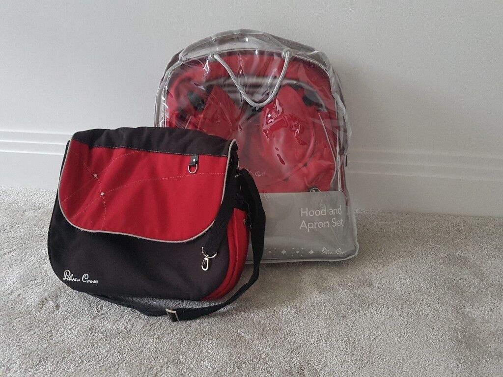 Slivercross apron & hood & changing bag in red