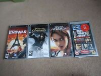 TOM CLANCY'S ENDWAR, PIRATES OF THE CARIBBEAN AT WORLDS END, LARA CROFT TOMB RAIDER, GTA PSP GAMES