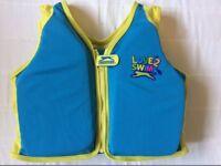 Slazenger Love 2 Swim Boys Swim Vest Safety Zip Up Jacket 4-5 years 18-30 Kgs Blue / Yellow