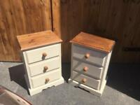 Solid pine pair of bedsides bedside drawers cabinets tables