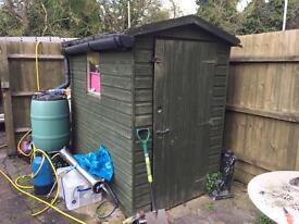 6x4 shed with guttering and water butt