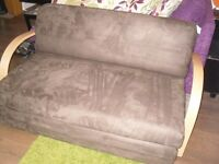 ex-display fold out sofa bed settee cream or brown ideal Xmas guests RRP £160
