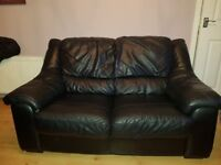 Black Leather 2 Seater Sofa and Matching Chair