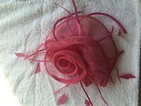 Pink fascinator fasinator wedding bride with alisband