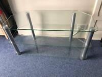 Glass & brushed chrome tv/media stand