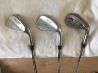 Titleist Vokey Wedge 48 Degree & 54 Degree. Also Taylormade 60 Degree. Golf clubs irons