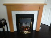 Fireplace dimplex electric with oak surround perfect working order!