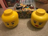 2 storage Lego heads and a crate full of Lego sets immaculate