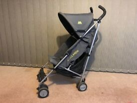 MACLAREN TRIUMPH STROLLER WITH FOOTMUFF AND RAIN COVER – CHARCOAL COLOUR