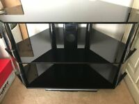 FOR SALE - BLACK GLASS TV STAND