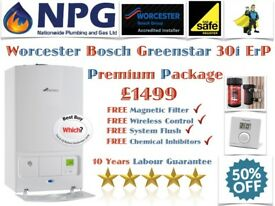 Worcester Bosch Greenstar 30i ErP Combi SUPPLIED & FITTED £1499 Premium Inc Mag Filter Clock Flush