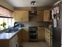 Kitchen units, oven and extractor fan