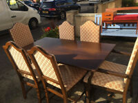 Gorgeous Vintage Solid Oak Dining Table and Six Chairs