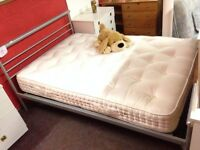 Steel Double Bed Frame + Mattress