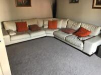 Cream Corner Leather Sofa