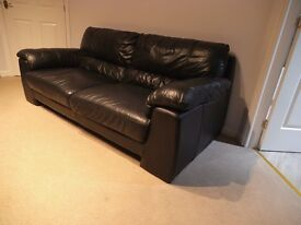 Black leather 3 seater sofa - Good condition
