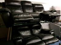 Black leather reclining sofas 3 + 2 Seater