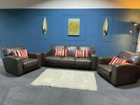 Brown leather suite 3 seater sofa and 2 chairs