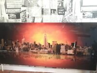 Digitally printed glass radiator cover New York City sunset. Fits double/single 1400mm