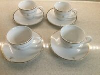 4 Cups and Saucers with Gold Coloured Trim