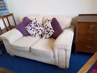 Cream Fabric 2 seater sofa