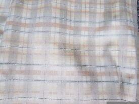 1 set of curtains with pelmet (peach, grey & cream tartan)