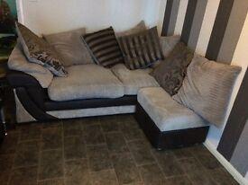 Corner sofa and foot stool cost £1200