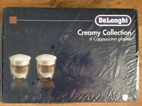 DeLonghi 6 Cappuccino Glasses. *boxed & brand new*