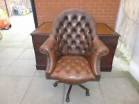 A Large Brown Twin Pedestal Leather Inlay Desk And A Brown Leather Chesterfield Directors Chair