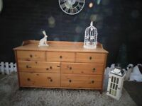 LARGE IKEA PINE SIDEBOARD WITH 7 DRAWERS SOLID SET AND IT'S IN VERY GOOD CONDITION 140/50/82 cm £55