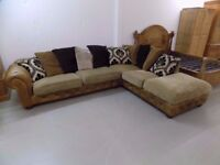Tan Leather & Fabric Corner Sofa Chesterfield/Tetrad Style