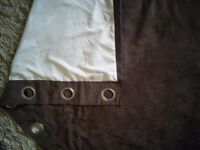 """Chocolate brown faux suede pair of curtains 66"""" x 90"""" and matching tie backs"""