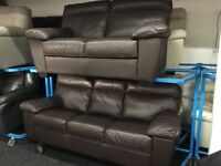 ScS New/Ex Display Brown Leather 3 Seater + 2 Seater Sofas