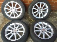 "GENUINE SEAT LEON TOLEDO ALTEA EXEO 16"" ALLOYS & 205/55/16 TYRES 5X112PCD VW CADDY TOURAN GOLF"