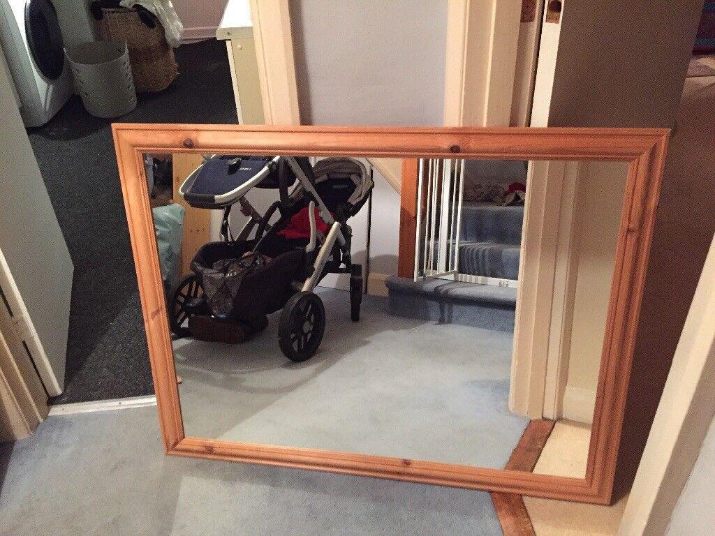 Wooden framed mirror 113x90cm