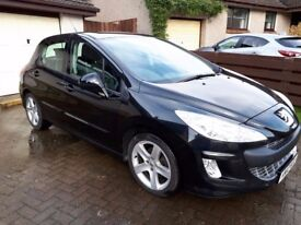 2010 Peugeot 308 Sport, Black, 5-door hatch, 70000 miles