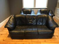 Black Leather Sofa and two Armchairs