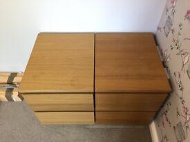 Ikea Malm 2 Draw Bedside cabinet Oak Veneer - 2 for sale