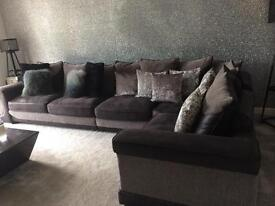Large grey corner sofa located peterborough