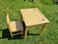 Natural wooden Desk and Chair for kids