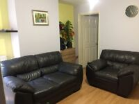 DFS Leather Sofa 2 Seater and 1 Seater and foot stool with storage. As good as New. Just for £599
