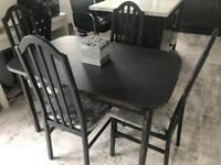 Farrow & Ball grey extendable dining table & 4 crushed velvet Chairs