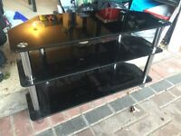 Gloss black glass tv stand
