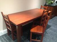 Solid Oak Table with four chairs