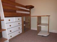 Full Bedroom set including Cabin bed (verona mid sleeper) - White/Pine