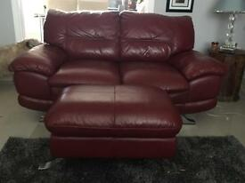 3 and 2 leather settee and stool